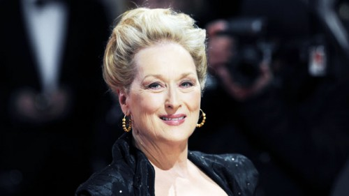 US actress Meryl Streep poses on the red