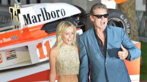 David Hasselhoff and Hayley Roberts arrive at the world premiere of Rush at a cinema in Leicester Square, central London